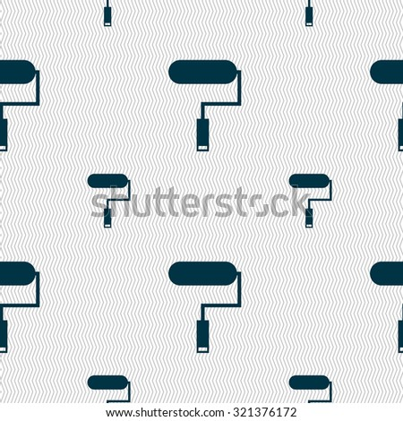 Paint roller sign icon. Painting tool symbol. Seamless pattern with geometric texture. Vector illustration - stock vector