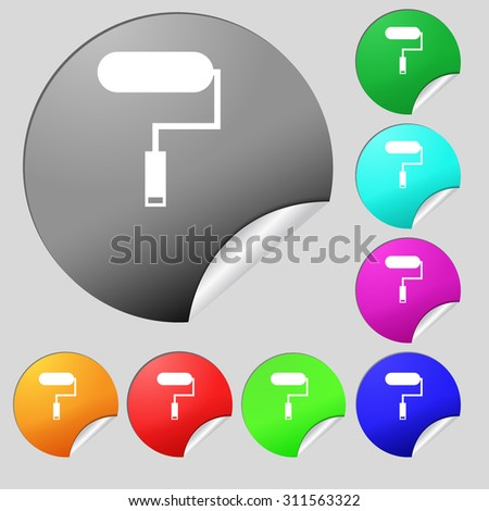 Paint roller sign icon. Painting tool symbol. Set of eight multi colored round buttons, stickers. Vector illustration - stock vector