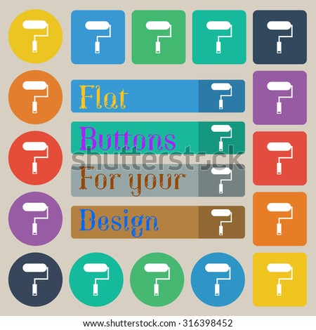 Paint roller sign icon. Painting tool symbol. Set of twenty colored flat, round, square and rectangular buttons. Vector illustration - stock vector
