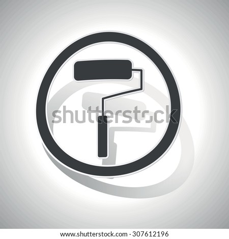 Paint roller sign sticker, curved, with outlining and shadow - stock vector