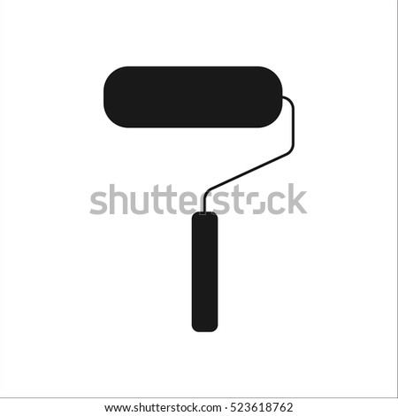 Paint roller symbol sign silhouette icon on background
