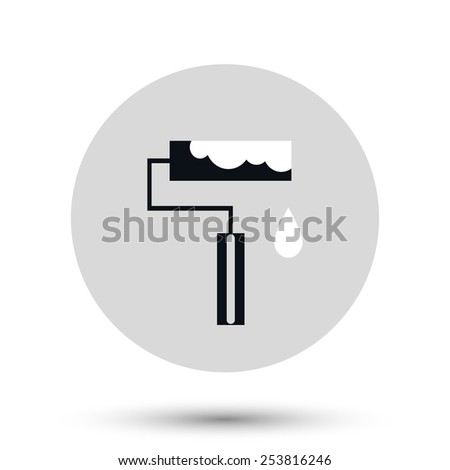 Paint roller vector icon. Construction symbol. Flat Vector illustration - stock vector