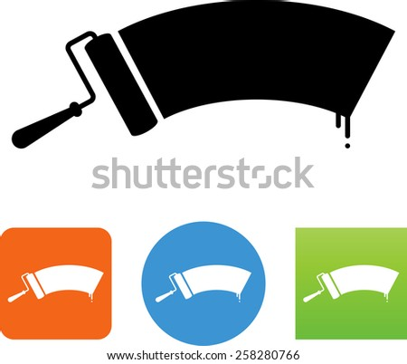 Paint roller with paint. Vector icons for video, mobile apps, Web sites and print projects.  - stock vector
