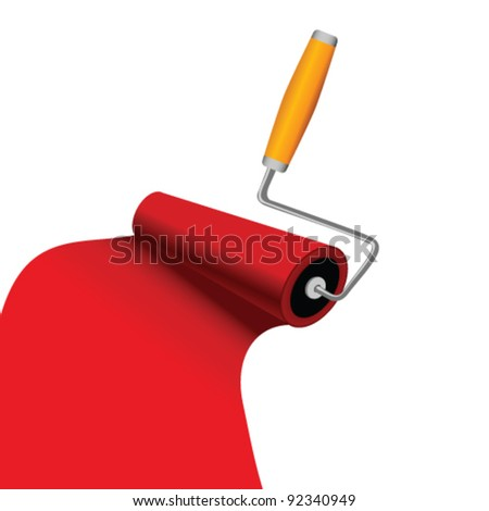 paint roller with red trace vector art illustration