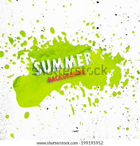Paint Splash with Grunge Texture. Concrete Wall Background. - stock vector