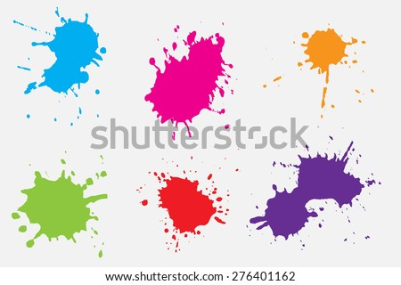 Paint splat set.Paint splashes set for design use.Abstract vector illustration. - stock vector