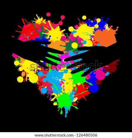 Paint splatter heart with two hands on black, vector illustration - stock vector