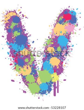 Paint Splatter v - stock vector