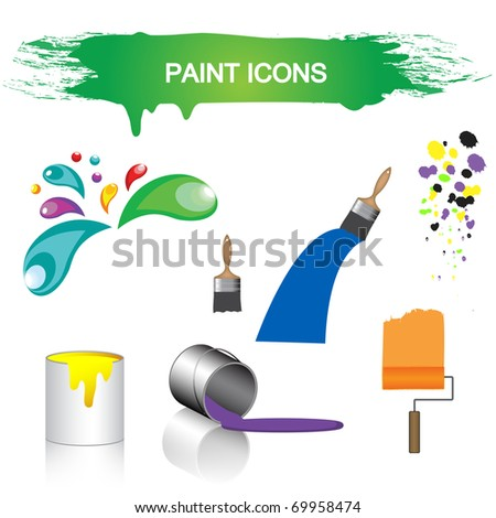 Paint symbols collection, eps10 vector - stock vector