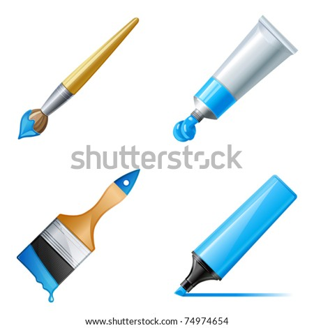 Paint tube, marker and brush with paint - stock vector