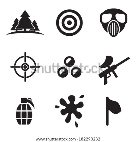 Paintball Icons - stock vector