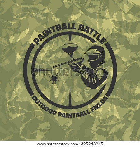 Paintball logo on green camouflage background. Indoor and outdoor paintball club icon.