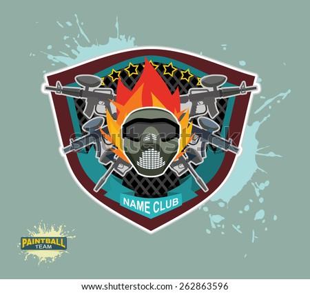 paintball logo.  paintball guns. Evil paintball mask - stock vector