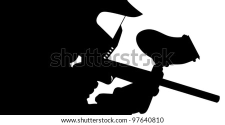 Paintball player in silhouette - stock vector