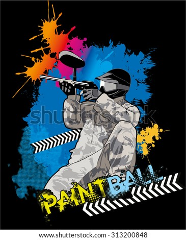 Paintball player in uniform with guns bright splashes background