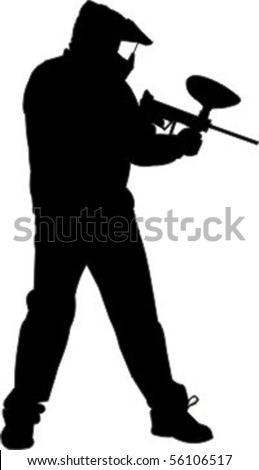 Paintball player standing - stock vector