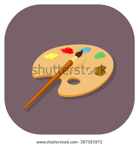 Paintbrush and color pallet for mixing paints. A vector illustration of an Artist icon. Flat icon artistic concept. - stock vector