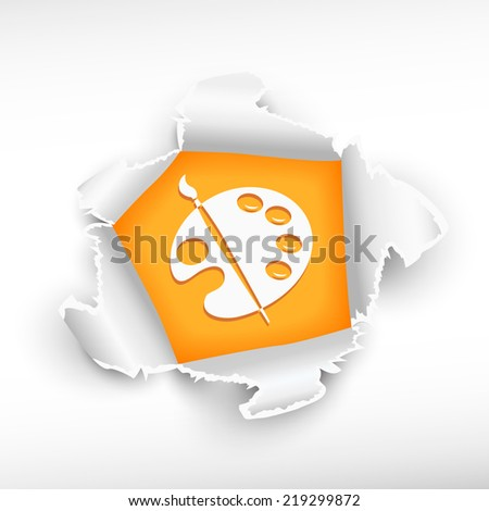 Paintbrush and palette of paints and breakthrough paper hole.  - stock vector