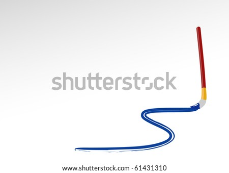 Paintbrush is drawing curved line. Vector illustration