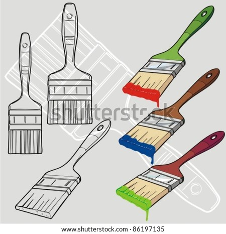 Paintbrush vector more colors  - stock vector