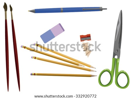 Paintbrushes, Pencils, Scissors and Sharpener Composition - stock vector