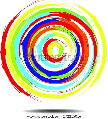 Painted a beautiful bright multi-colored circle. - stock vector