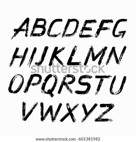 Painted Abc Grungy Design Letters Bold Handwritten Font Sans Serif Alphabet Distress