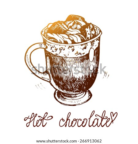 Painted by hand with a cup of hot chocolate and cream. Cup with cream, coffee, cocoa. Isolated vector illustration. - stock vector