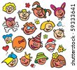 painted children's faces - stock vector