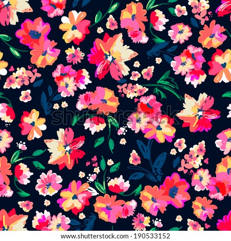 Painted colorful flowers ~ seamless vector background - stock vector