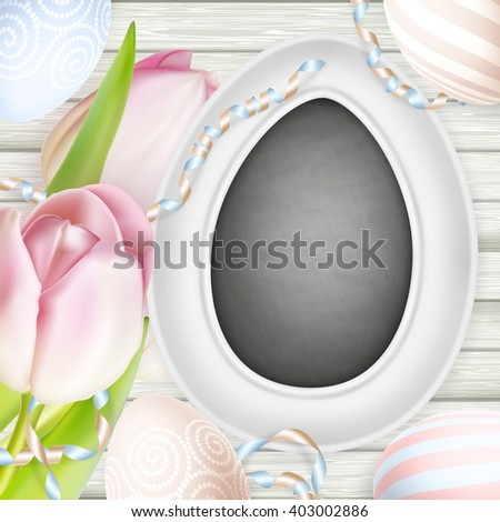 Painted Easter eggs, flowers and other decorations for Easter holiday. EPS 10 vector file included
