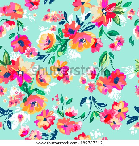Painted flowers ~ seamless vector background - stock vector