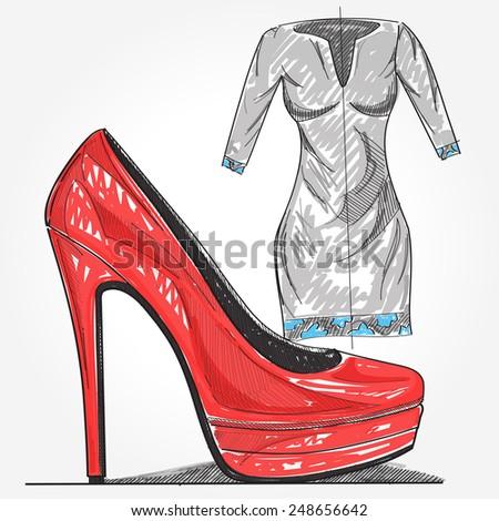 Painted ladies heels and dress. - stock vector