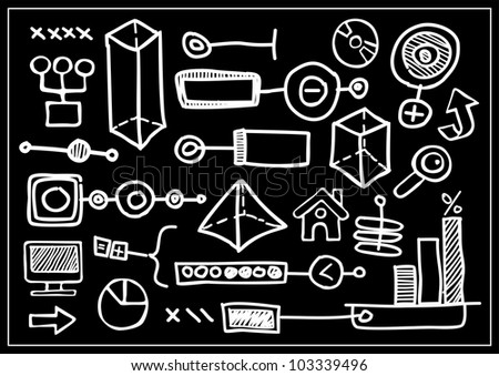 painted pieces of information - stock vector