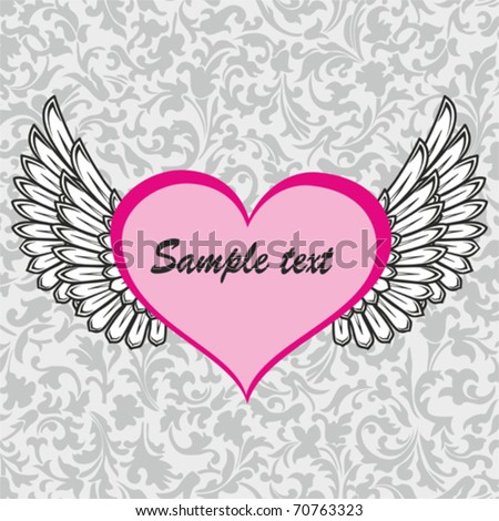painted pink heart with angel wings - stock vector