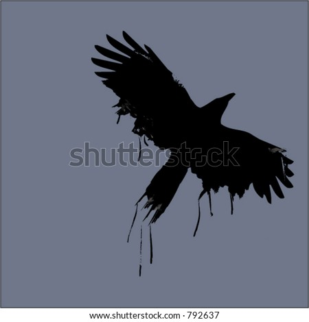 painted raven - stock vector