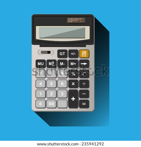 painted realistic calculator on blue background - stock vector