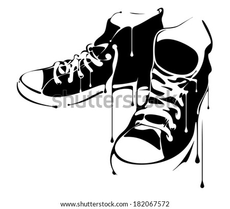 Painted Sneakers - stock vector
