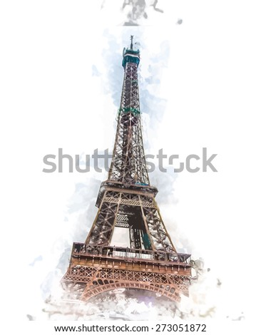 Painted view on Eiffel Tower. Artistic travel background. Vintage postcard from France - stock vector