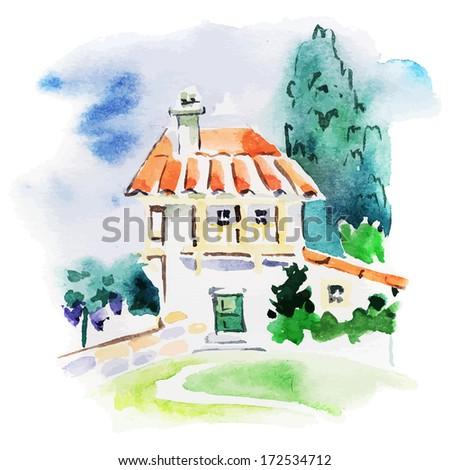 Painted watercolor vineyard landscape  - stock vector