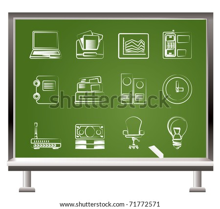 painted with chalk  Business and office objects - vector illustration - stock vector