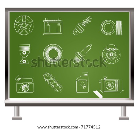 painted with chalk Car Parts and Services objects - Vector illustration - stock vector