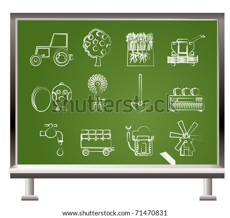 painted with chalk farming industry and farming tools  - vector illustration - stock vector