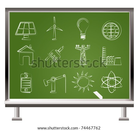 painted with chalk power, energy and electricity icons - vector icon set - stock vector