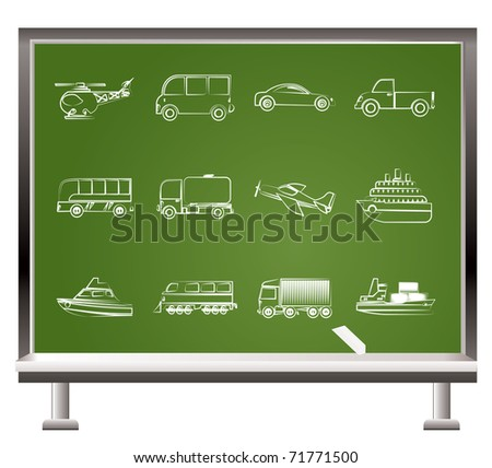 painted with chalk Travel and transportation objects - vector illustration - stock vector