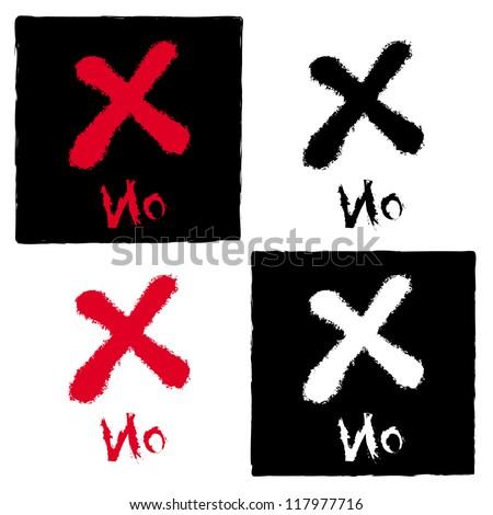 painted X mark on white, Vector illustration - stock vector