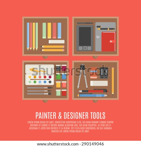 Painter and designer digital and manual tools in drawers flat color concept vector illustration - stock vector