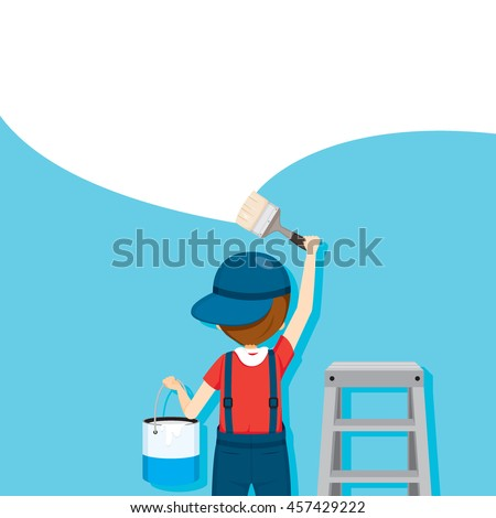 Painter Coloring Wall By Paintbrush, People Occupations, Profession, Worker, Job, Duty - stock vector