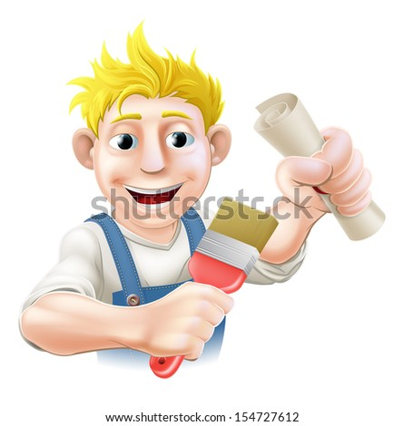 Painter decorator with certificate, qualification or other scroll and paintbrush. Education concept for being professionally qualified or certificated.  - stock vector