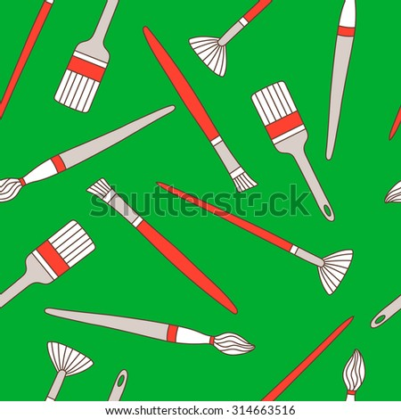 Painter hand drawn seamless pattern. Doodle background paint brushes - stock vector
